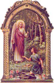 Arcanjo Rafael e pastor com cabaça