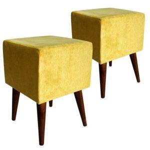 Pufes quadrados amarelos - Fonte: Ponto Frio